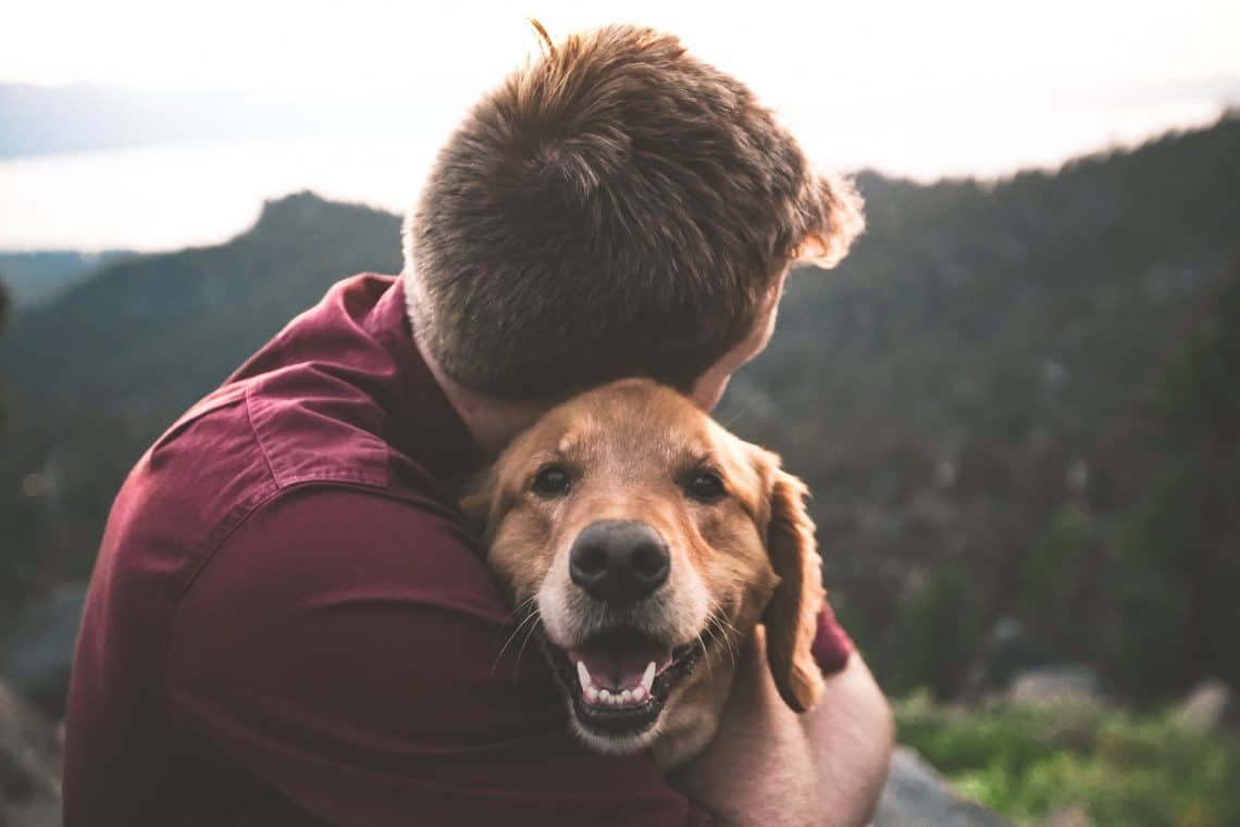 Young man hugging his happy dog in nature